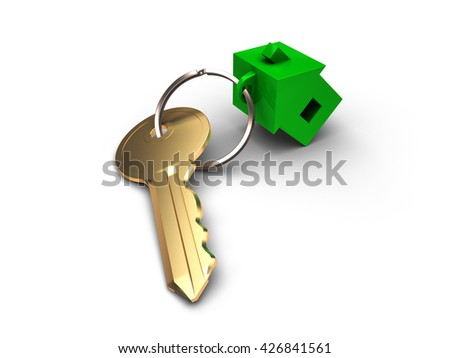 The key from apartment with green trinket in form house isolated on white - stock photo