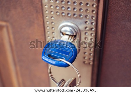 The key in the lock of the iron door. Toned image.  - stock photo