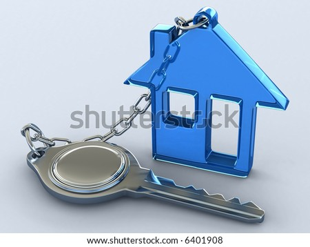 The key of a gift house. Concept of your dream house. - stock photo