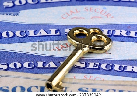 The key to social security benefits - Retirement income concept  - stock photo
