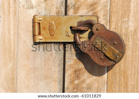 The key to the ancient. Antique key lock. Key lock ancient rust. - stock photo