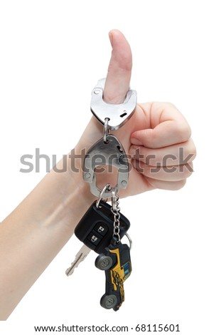 The key to the car, strapped to the hand cuffs on a white background - stock photo