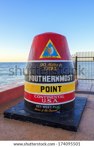 The Key West, Florida Buoy sign marking the southernmost point  - stock photo