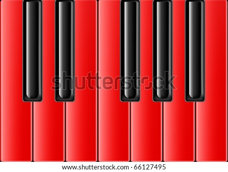 The keyboard of the classical piano with red keys - stock photo