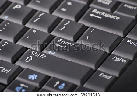 The keyboard of the laptop, black colour