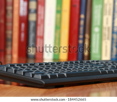 the keyboard on the desk - stock photo