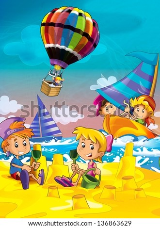 The kids playing at the beach, diving, building in sand - ocean - sea - illustration for the children - stock photo