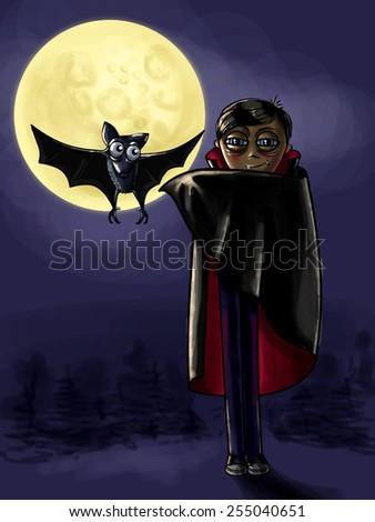 The kind vampire in a black cloak with a flying bat on the background of the moon