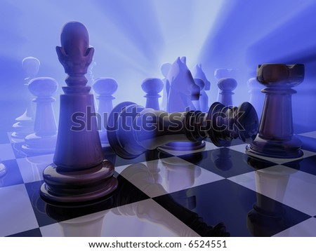 The king falling down among enemy  - rendered in 3d - stock photo