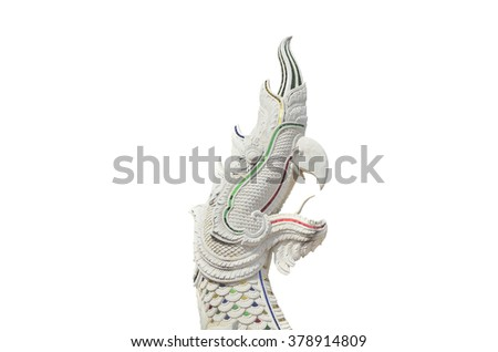 The King of Nagas or the great serpent isolated on white background  - stock photo