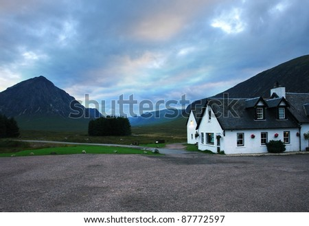 the Kings House Hotel in Scotland at evening time - stock photo