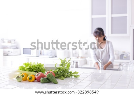 The kitchen counter vegetables - stock photo