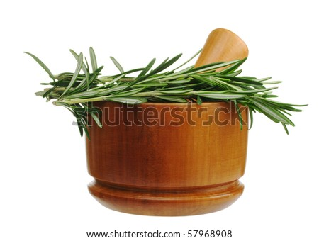 The kitchen herb rosemary with a wooden mortar isolated on white