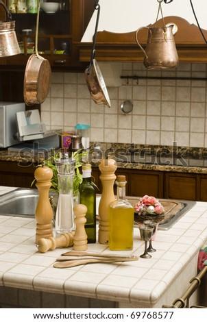 the kitchen is salt, pepper, pot - stock photo