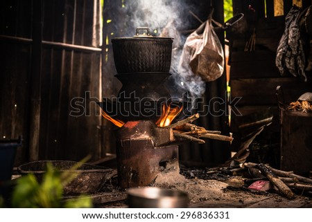 The kitchen of the rural population in the country.