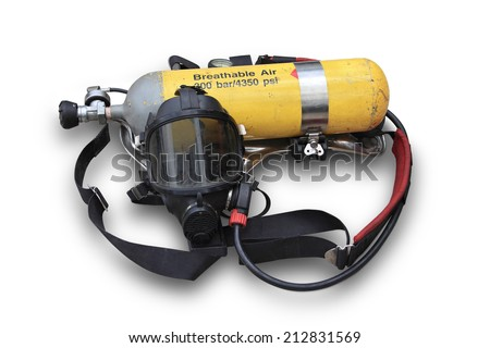 The kits oxygen masks and oxygen cylinder through use of firefighters in Thailand on white background - stock photo