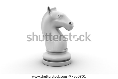 The knight chess piece isolated on white background - stock photo