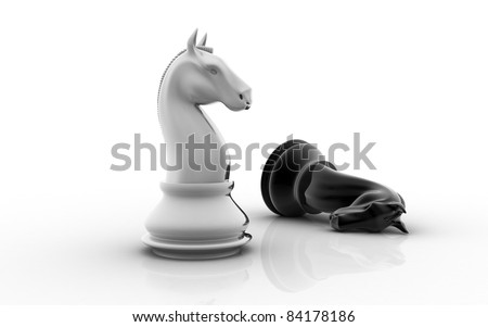 The knight chess piece on white background