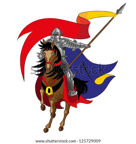 The knight on a horse holds a flag - stock photo