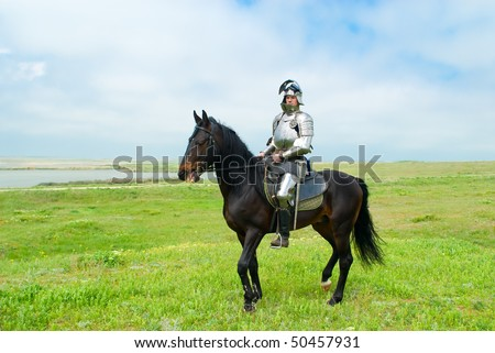 The knight on a horse in field - stock photo