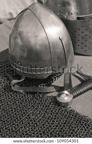 The knightly weapon and armour - stock photo
