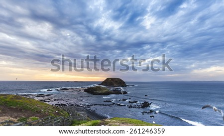 The Knobbies, Phillip Island, Victoria, Australia. Offshore islands with seagulls nesting and an approaching storm. - stock photo