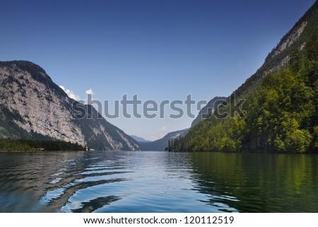 The Koenigssee near Berchtesgaden, Bavaria, on a sunny day in summer - stock photo