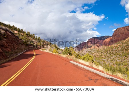 The Kolob Canyons scenic drive in Zion Canyon National Park, Utah. - stock photo