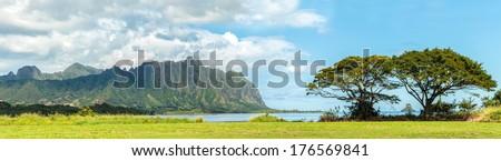 The Koolau mountains viewed across Kaneohe Bay on Windward Oahu, Hawaii - stock photo