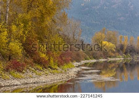 The Kootenai River near Bonners Ferry, Idaho. - stock photo