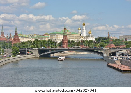 The Kremlin embankment in Moscow. View of the Moscow Kremlin from the Moscow river. - stock photo