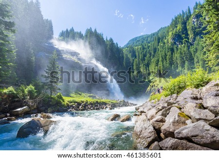 The Krimml Waterfalls in the High Tauern National Park, Salzburg, Austria