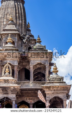The Krishna Mandir Temple is a Hindu temple located in Patan Durbar Square. - stock photo