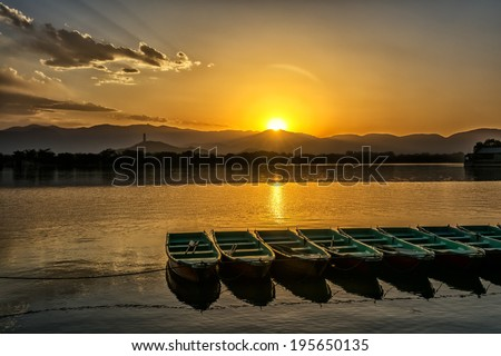 The kunming lake under the sunset in Summer Palace of Beijing, China - stock photo
