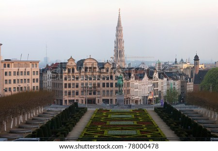 The Kunstberg or Mont des Arts is a historical site, which gives away one of the finest views of the Brussels' skyline. - stock photo