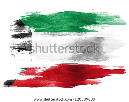 The Kuwaiti flag painted on white paper with watercolor - stock photo