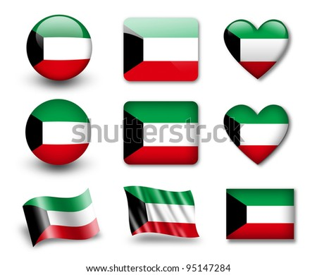 The Kuwaiti flag - set of icons and flags. glossy and matte on a white background. - stock photo