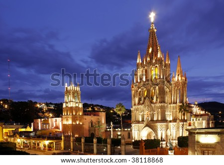 The La Parroquia and Templo de San Rafael on the main square of San Miguel de Allende in Mexico. - stock photo