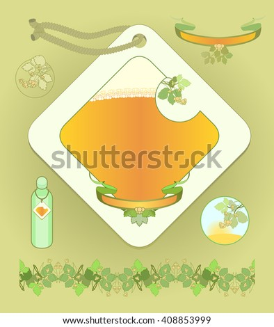 The label for shampoo and a set of design elements. Shampoo beer. Images of plants hops. - stock photo