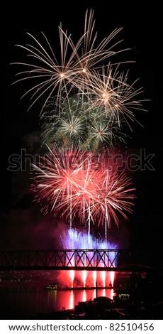 The Labor Day Fireworks Show Over The Ohio River At Cincinnati, Ohio, USA - stock photo