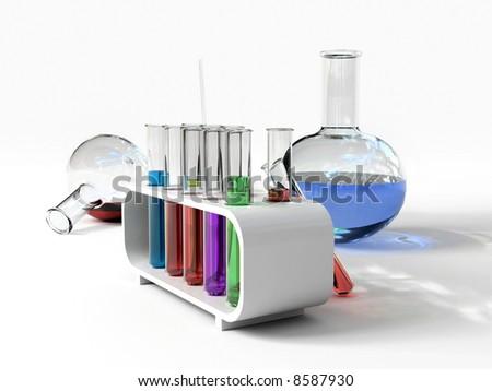 the laboratory tust tubes (3d Image) - stock photo