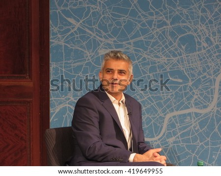 The Labour's party's candidate for Mayor of London, Sadiq Khan, speaking at the Centre for London conference in November 2015 - stock photo