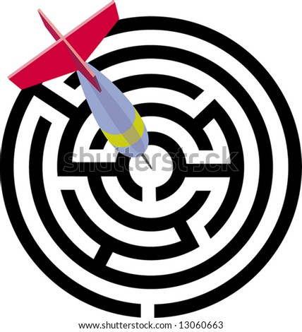 the labyrinth. a vector illustration - stock photo