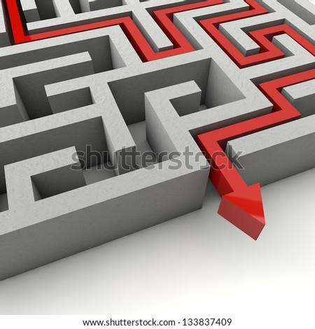 The labyrinth is a serious consequence of decisions to come out of the dark and become successful - stock photo