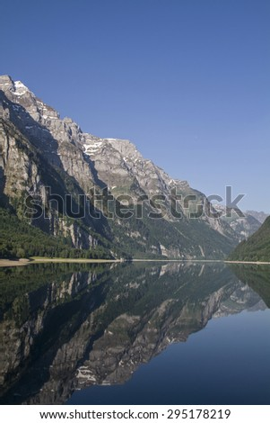 The Lake Kl�¶ntal is incurred by a landslide lake in the canton of Glarus in Switzerland - stock photo