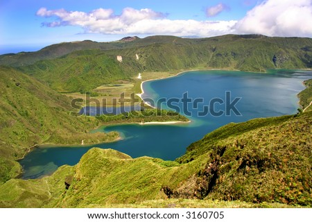 the lake of fire in azores island of sao miguel - stock photo