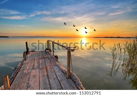 The lake of happiness - stock photo