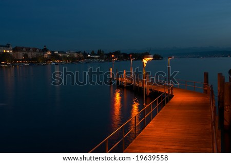 The Lake of Zurich at night (Switzerland) - stock photo