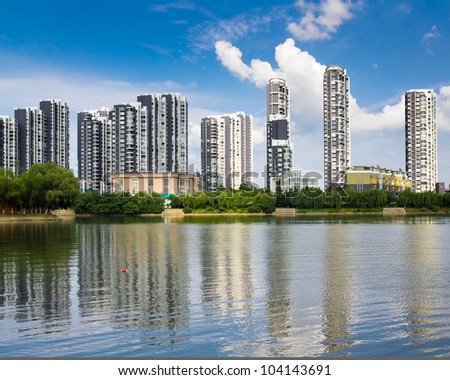 The lake side of the high-rise buildings