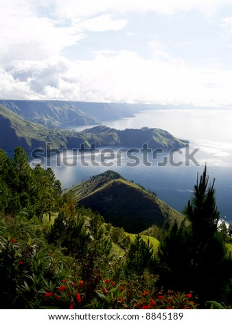 The Lake Toba View from Simalem Hotel Resort in Merek Berastagi Indonesia - stock photo
